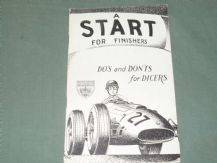 A START FOR FINISHERS. DO'S and DON'TS for DICERS (BRDC. c.1957)